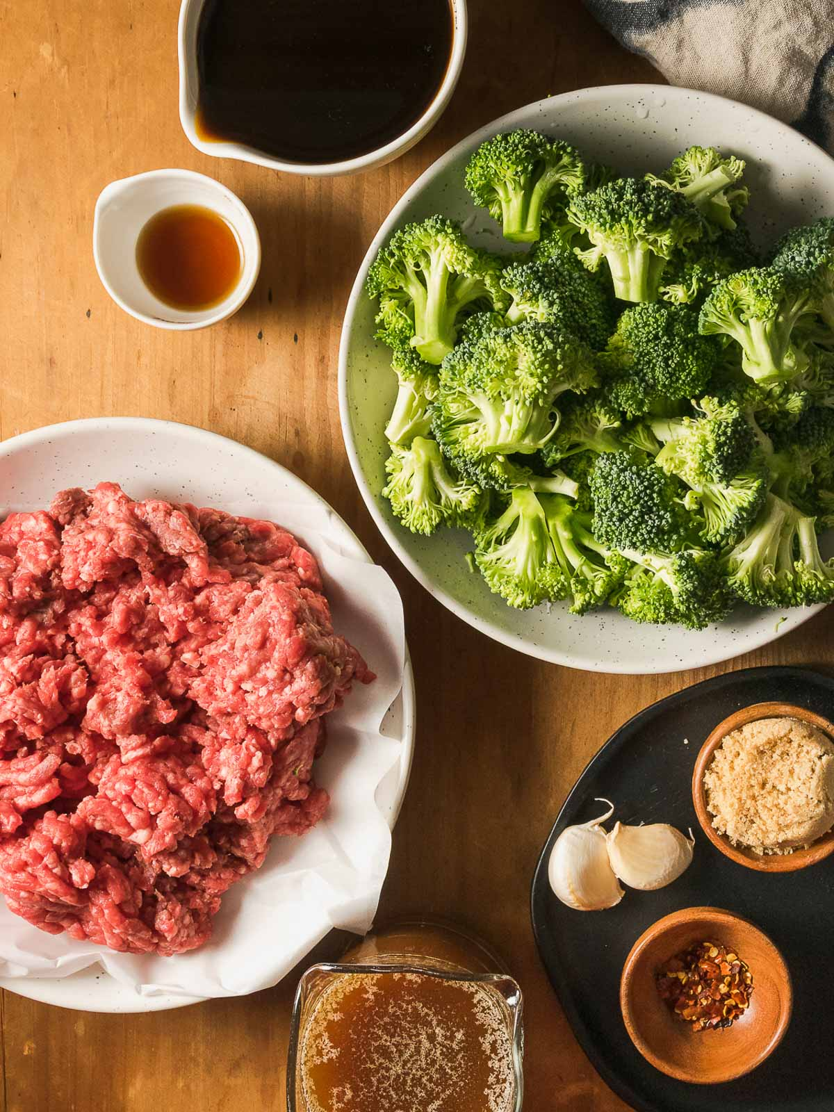 All ingredients for ground beef and broccoli.