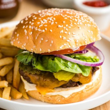 An Air Fryer Hamburger served on a plate with french fries.
